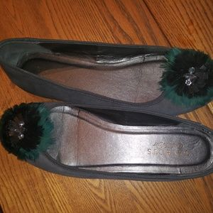 Talbots Ballet Gray Feathered/Jeweled Flats 8.5